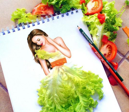beautiful girl 3d painting of vegitables