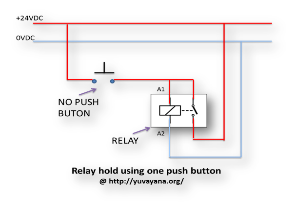 relay hold using one push button